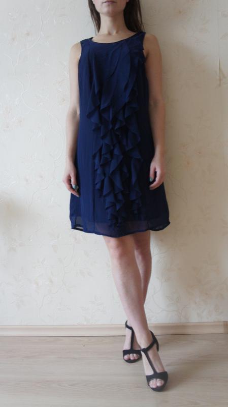 Шифоновое синее платье