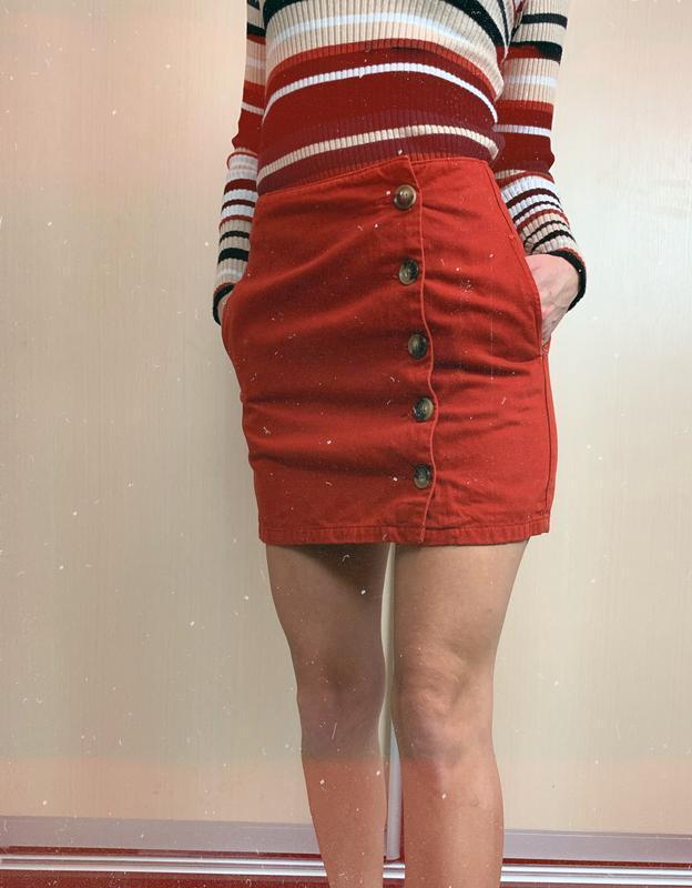 🌿 джинсовая юбка на пуговицах кирпичного цвета zara с высокой ...