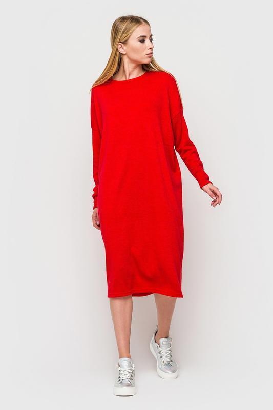 Платье красное, трикотажное,оверсайс/размер с-ххл