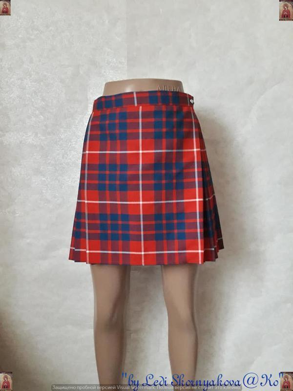 Новая шикарная мини юбка плиисе на запах в клетку в красно-син...
