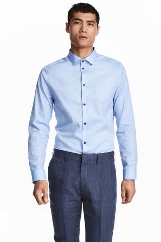 Голубая рубашка h&m premium quality из хлопка премиум !
