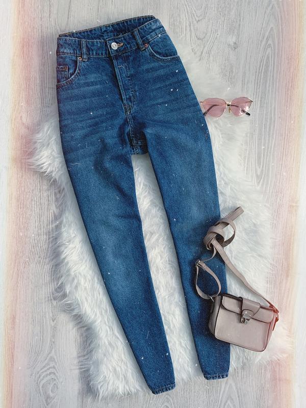 🌿 идеальные синие базовые джинсы мом с высокой посадкой