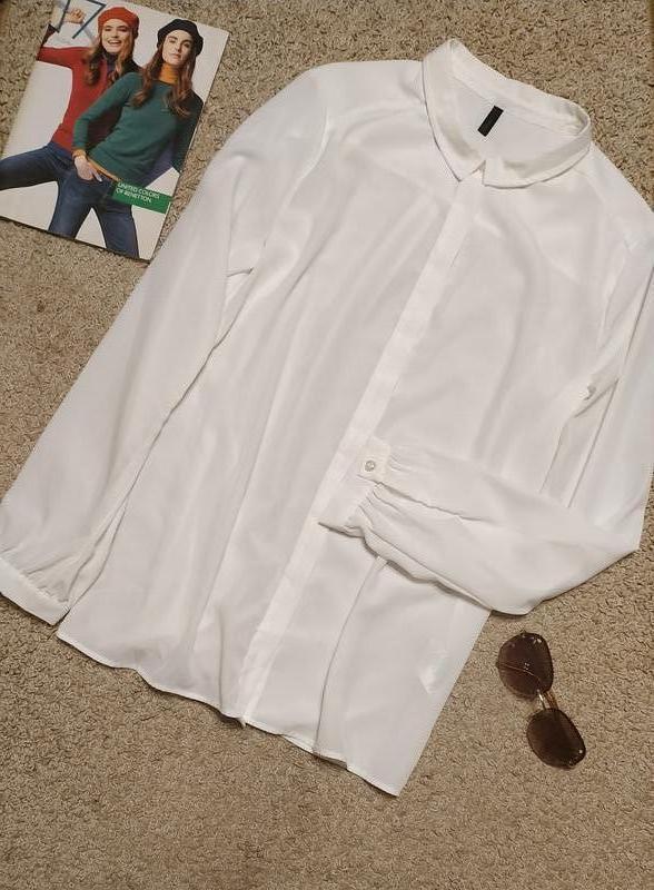 Benetton блузка/рубашка классическая белого цвета