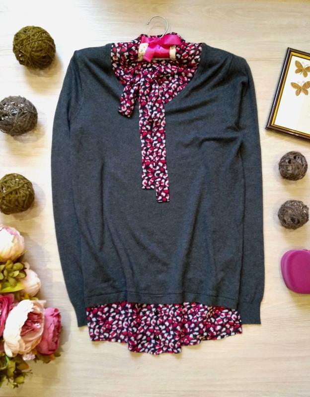Актуальный вискозный джемпер с блузой обманкой размер 10-12 (4...