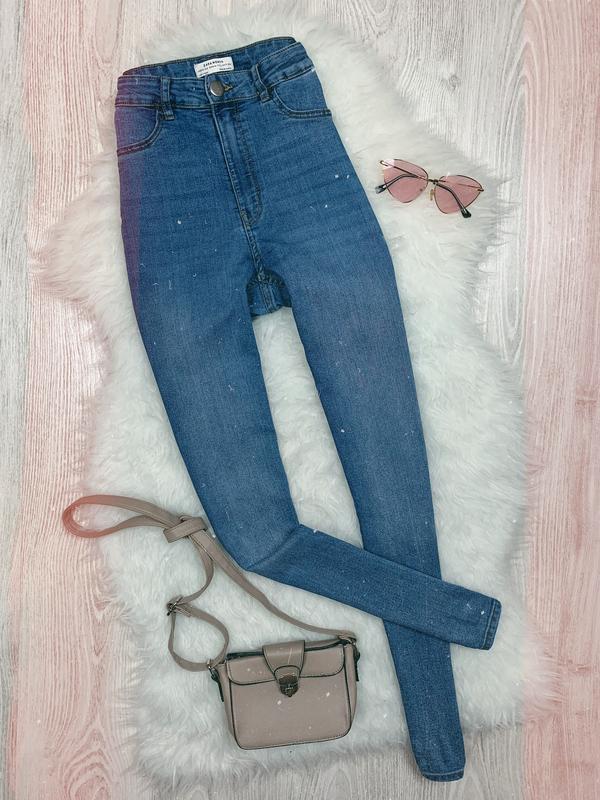 🌿 синие базовые джинсы скинни zara с высокой посадкой