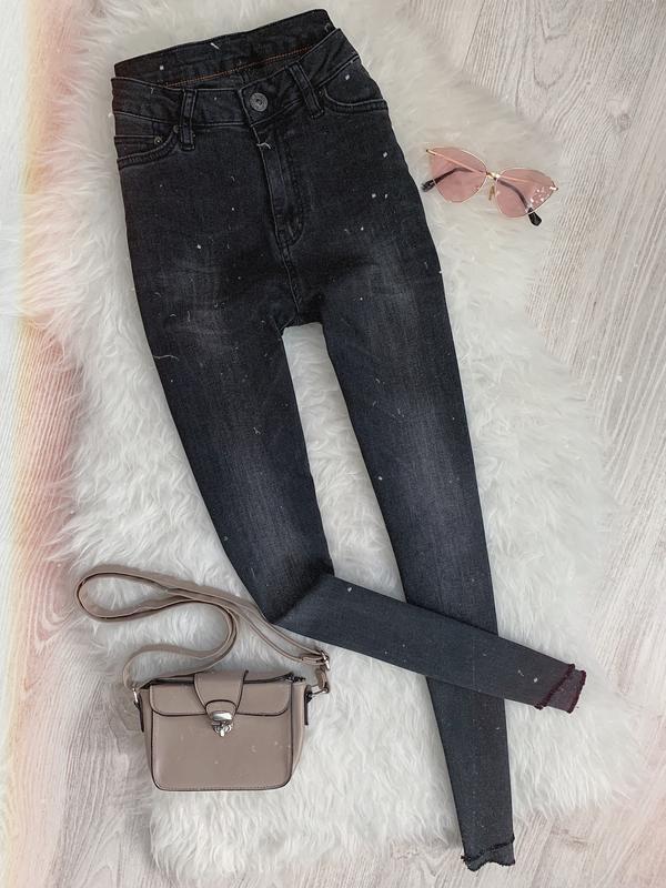 🌿 темно серые графитовые джинсы скинни с высокой посадкой и ас...
