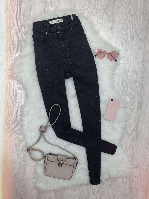 🌿 черные базовые джинсы скинни с высокой посадкой