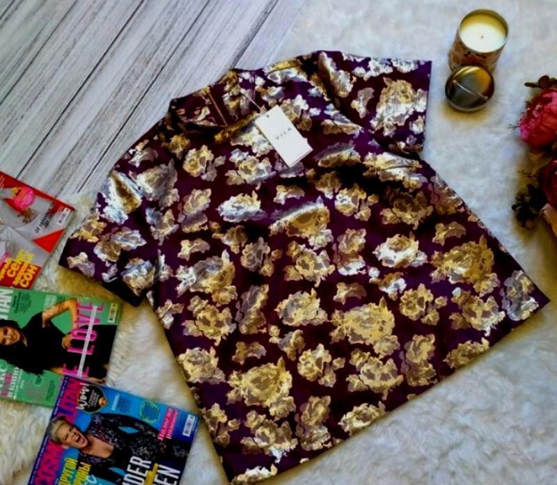 Новая с биркой! шикарная блуза в золотые цветы размер 12-14 (4...