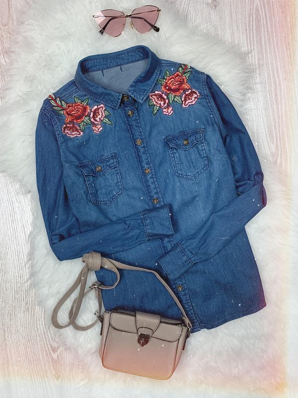 🌿 синяя базовая джинсовая рубашка с вышивкой / джинсовка