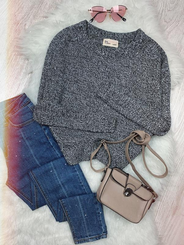 🌿 черно белый вязаный свитер оверсайз bershka • джемпер