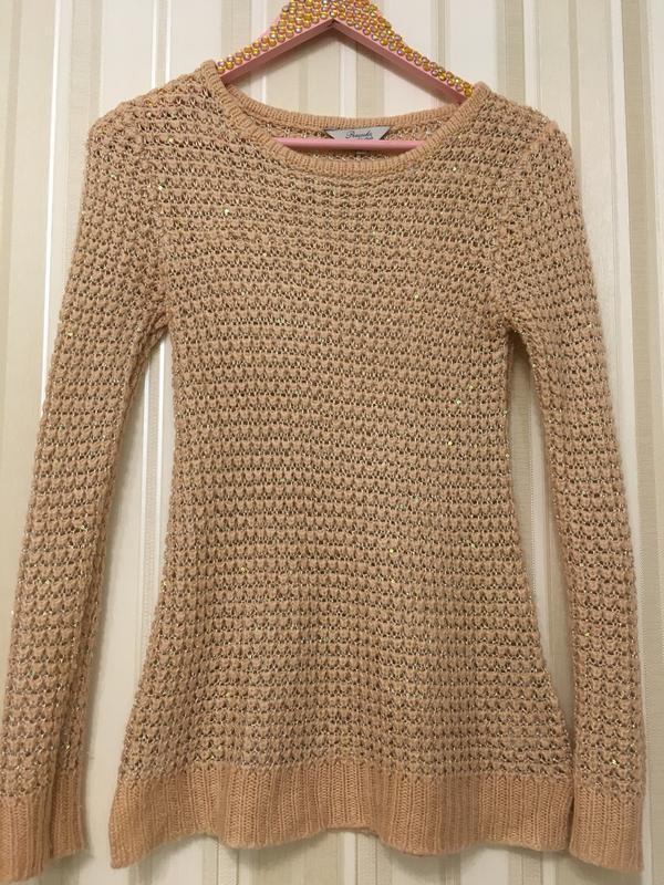 Джемпер/свитер/свитер бежевый/с пайетками/свитер персиковый с ...