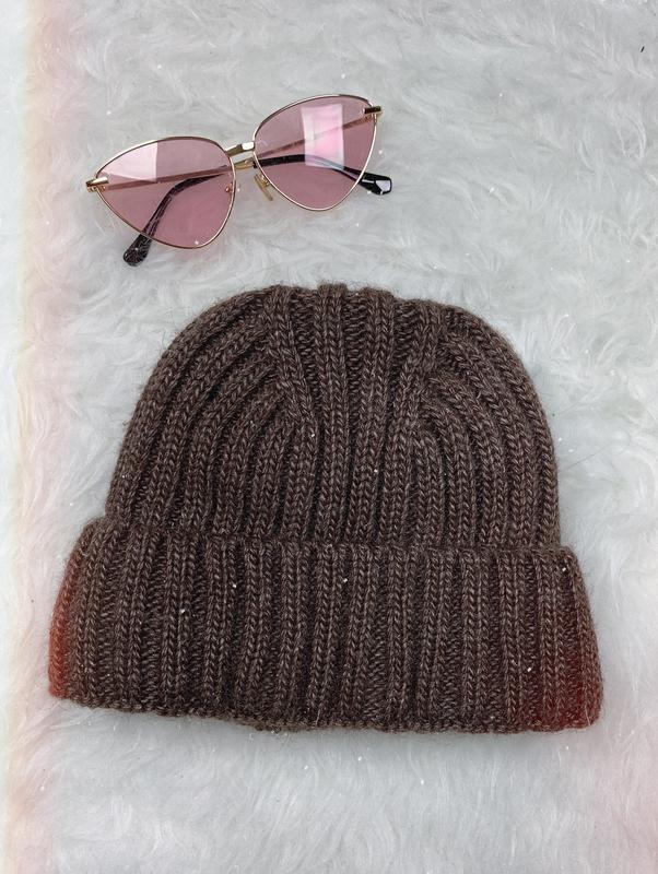 🌿 новая вязаная шапка коричневого цвета с утеплителем