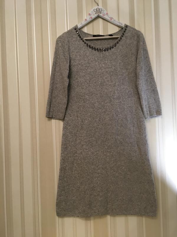 Вязаное платье/шерстяное платье/серое платье/теплое платье/с б...