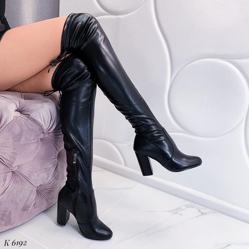 Сапоги ботфорты на высоком каблуке ,чёрные сапоги чулки,высоки...