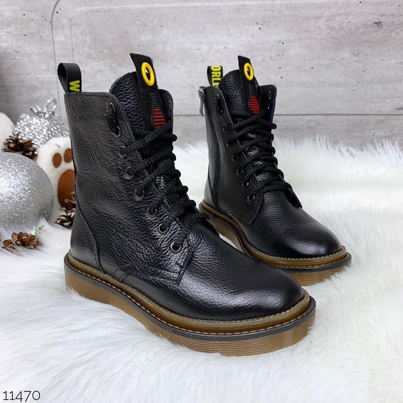 Стильные зимние ботинки  из натуральной кожи,высокие  кожаные ...