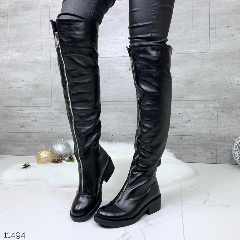 Зимние  сапоги ботфорты из натуральной кожи,кожаные ботфорты с...