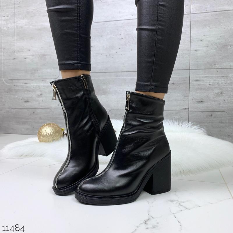 Зимние кожаные ботильоны с молниями, зимние ботинки из натурал...