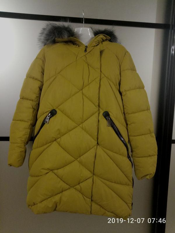 Теплая куртка пуховик горчичная,l/xl