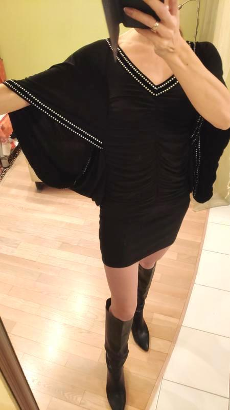 Туника блуза платье мини нарядная с открытыми плечами блестяща...