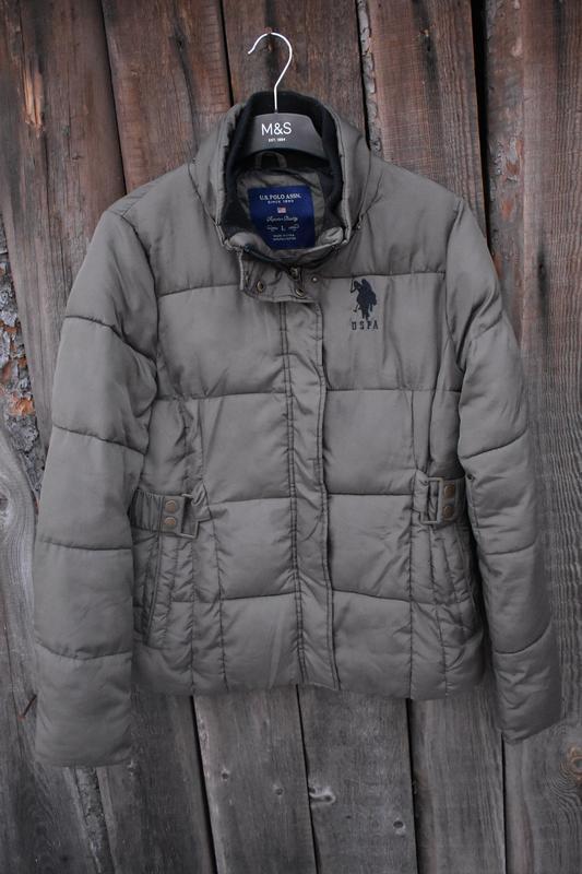 U.s. polo assn женская куртка теплая на зиму легкая зеленая ст...