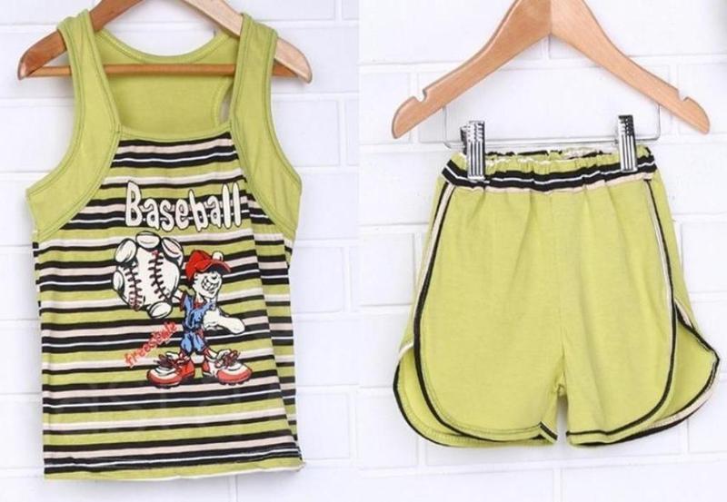 Детский летний костюм, майка, футболка, бриджи, шорты