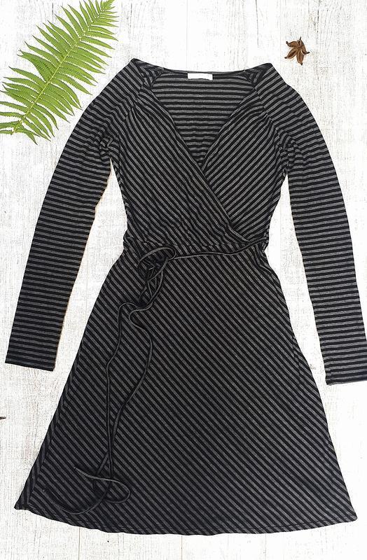 Платье с длинным рукавом, платье в полоску
