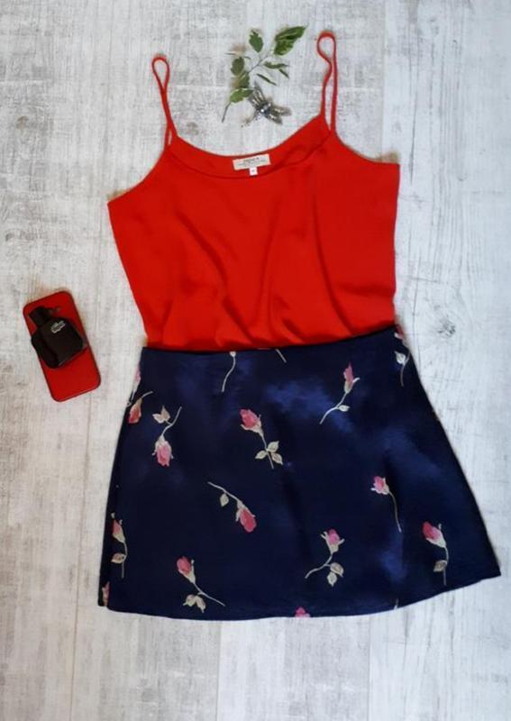 Юбка, атласная юбка в цветочный принт