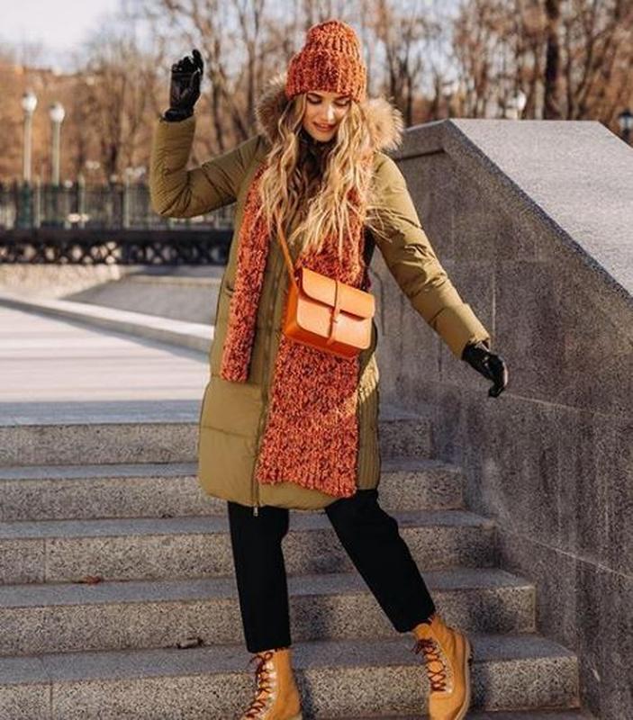 Куртка хаки зимняя пуховик с мехом натуральный эксклюзив