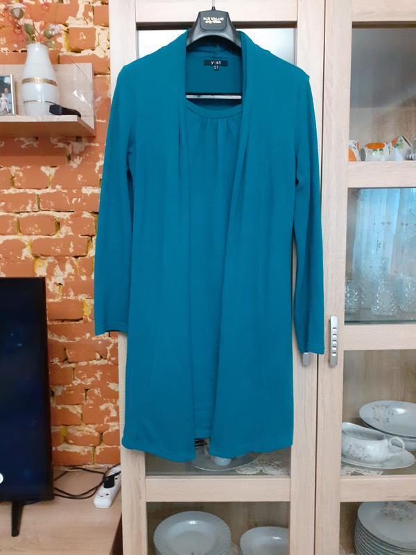Теплое платье 2 в 1, платье с жилетом