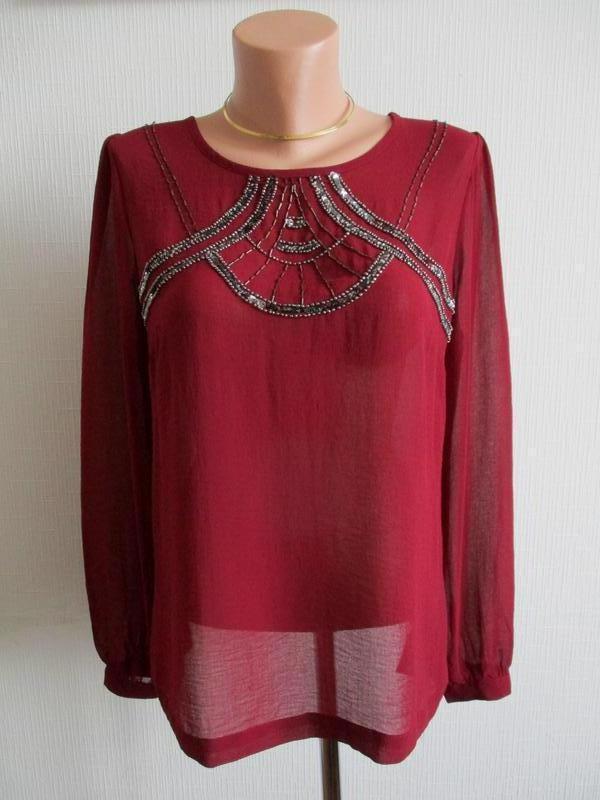 Нарядная шифоновая блуза c пайетками и бисером marks&spencer