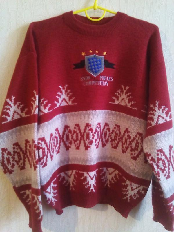 Красный с белым свитер с орнаментом - в составе шерсть reaks- ...