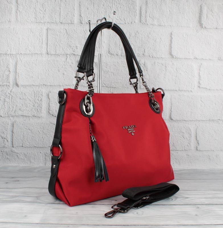 Стильная брендовая сумка 81149 красная большого размера