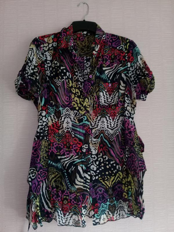Батистовая хлопковая рубашка блузка батал steilmann