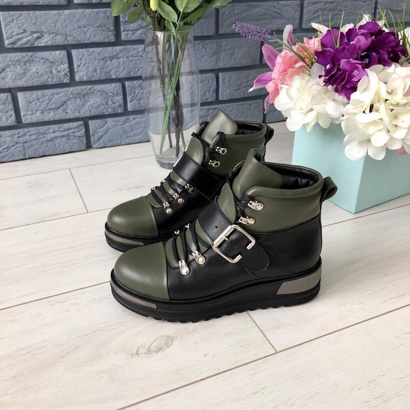 Lux обувь! цена дня! кожаные зимние/деми ботинки на платформе