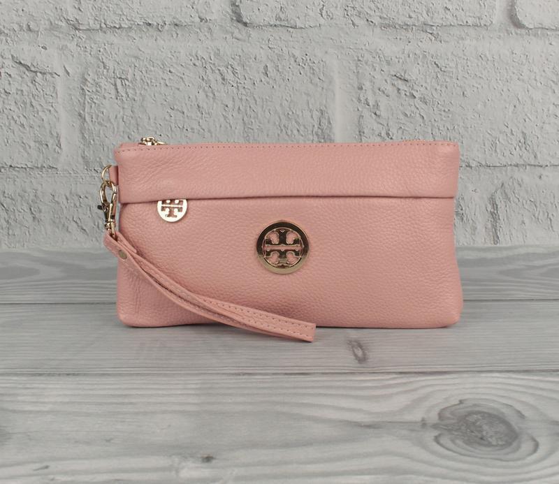 Кожаный кошелек-клатч tory burch 1902 розовый