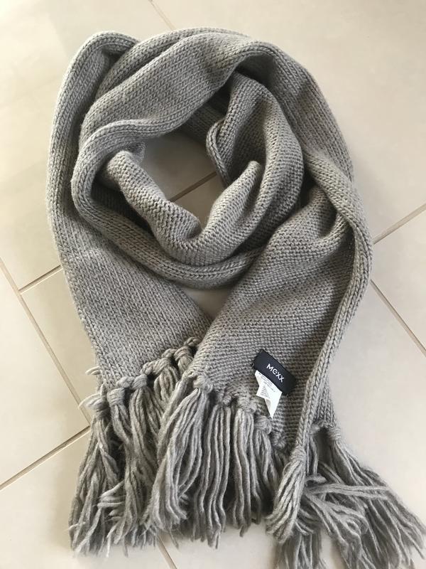 Шарф унисекс большой зимний тёплый стильный модный mexx