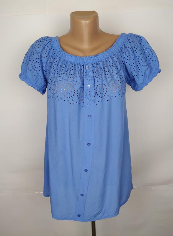Блуза голубая красивая батистовка комбинированная новая!!! geo...