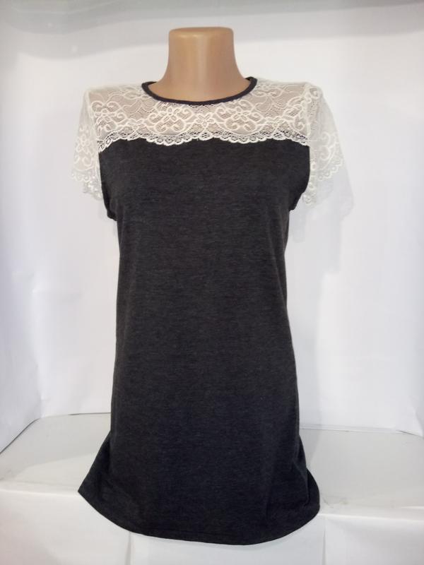 Хлопковая блуза с ажурной кокеткой uk 12/40/m