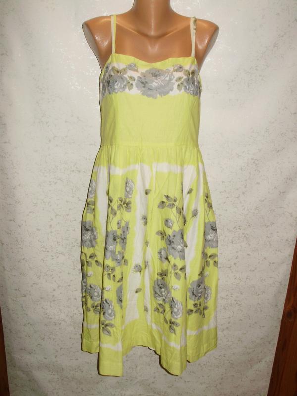 Нежное хлопковое платье в цветах пышная юбка 14/48-50 размера