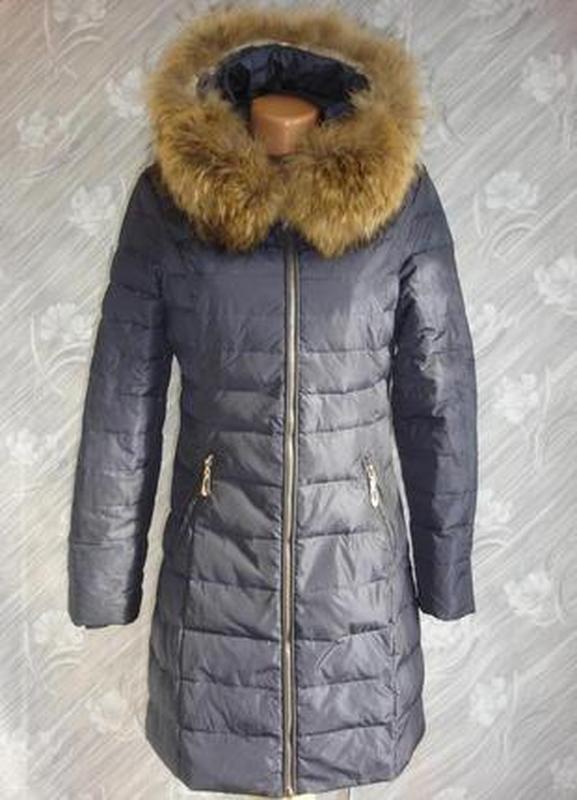 """Теплое стеганное пуховое пальто с натуральным мехом """"moncler """"..."""