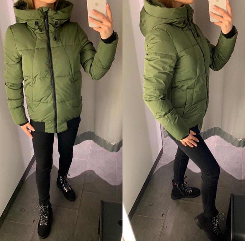 Демисезонная зелёная куртка курточка amisu есть размеры