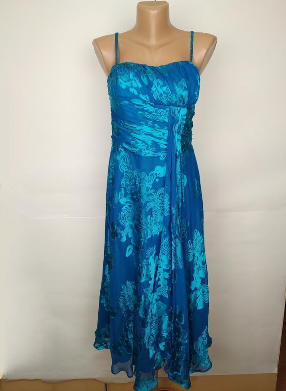 Платье шикарное шелковое цвета морской волны monsoon uk 10/38/s