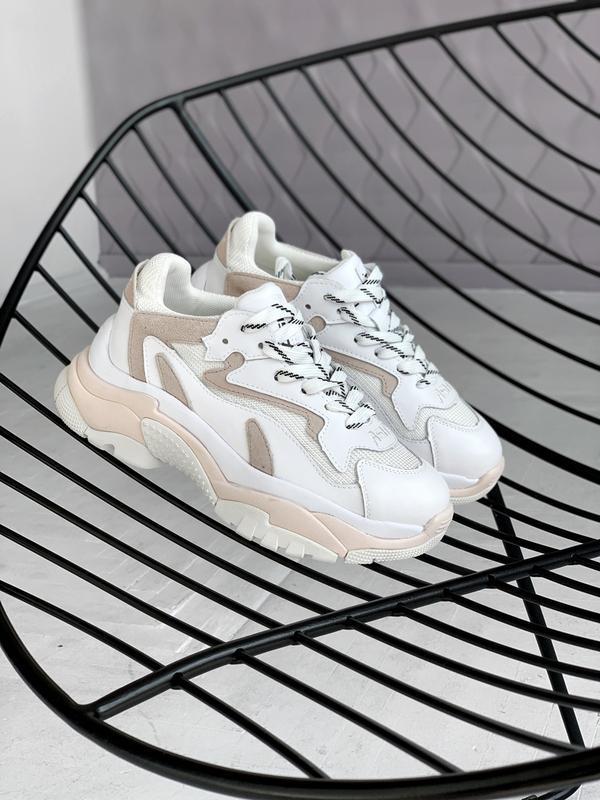 Крутые кроссовки ash pink из кожи