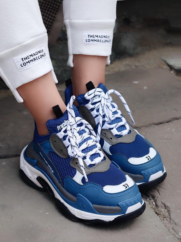 Шикарные женские кроссовки triple s в синем цвете (весна-лето-...