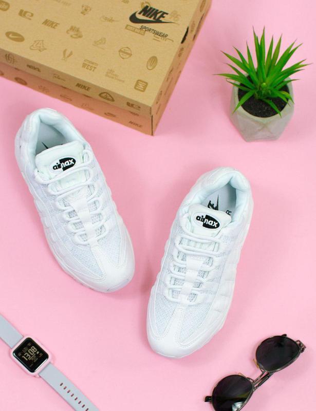 Шикарные женские кроссовки nike в белом цвете (весна-лето-осень)😍 - Фото 3