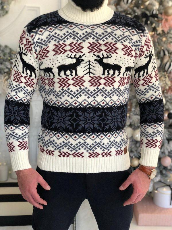 Мужской свитер с оленями - Фото 4