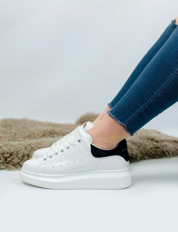 Шикарные женские кроссовки из натуральной кожи в белом цвете (...