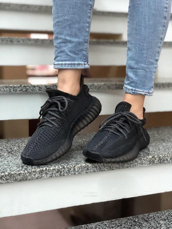 Рефлективные кроссовки adidas yeezy 350 black (весна-лето-осень)😍