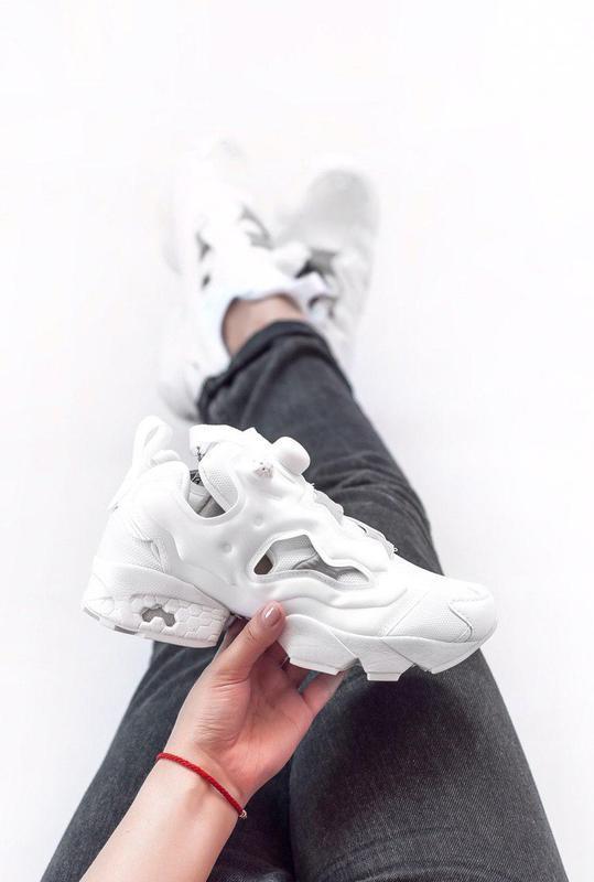 Стильные женские кроссовки insta pump в белом цвете  (весна-ле...