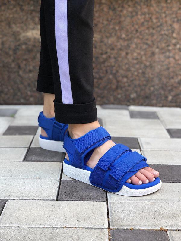 Шикарные летние сандалии adidas в синем цвете (весна-лето-осень)😍